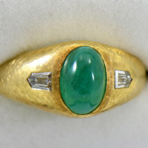 Brandon s Vintage 18k Jabel Mens Ring with 4ct Cabochon Emerald and Bullet Diamonds 6.JPG
