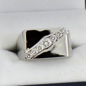 Custom Rectangular Mens Ring with Channel Set Diamonds 1ctw 14kw 4.JPG