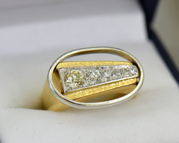 Mid Century Space Age Mens Diamond Ring in two tone gold.JPG