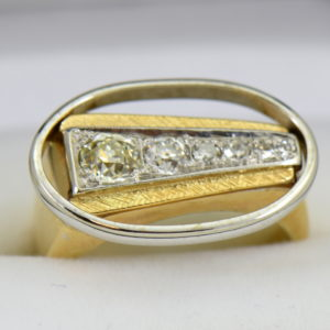 Mid Century Space Age Mens Diamond Ring in two tone gold 2.JPG