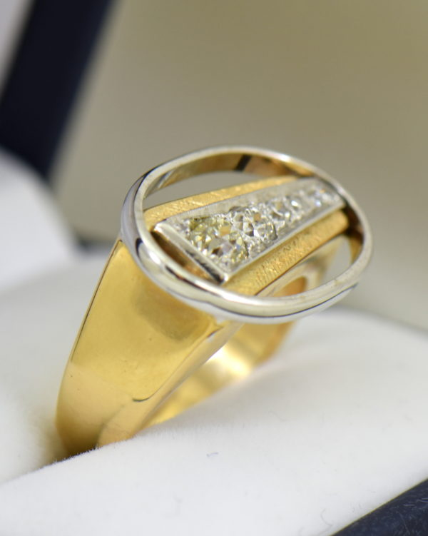 Mid Century Space Age Mens Diamond Ring in two tone gold 4.JPG