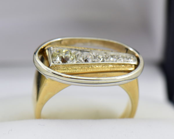 Mid Century Space Age Mens Diamond Ring in two tone gold 5.JPG