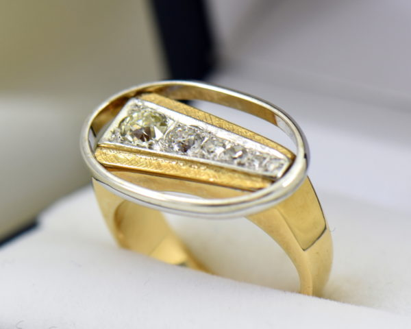 Mid Century Space Age Mens Diamond Ring in two tone gold 6.JPG