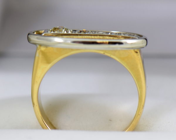 Mid Century Space Age Mens Diamond Ring in two tone gold 7.JPG