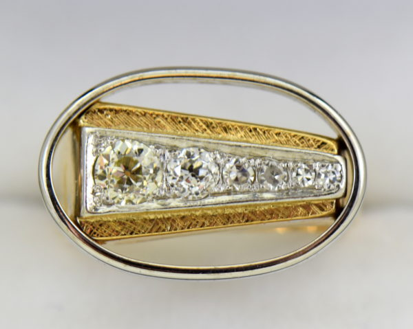 Mid Century Space Age Mens Diamond Ring in two tone gold 8.JPG