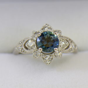 Star Shaped Deco Style Engagement Ring with Denim Blue Round Sapphire 1ct and diamonds.JPG