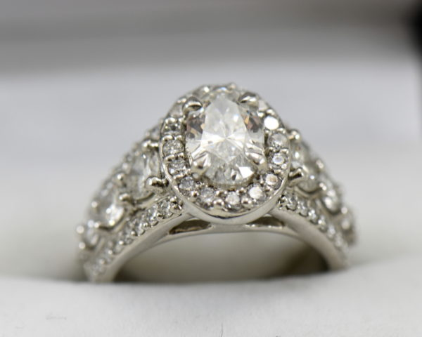 Susans 1.50ct Oval Diamond Platinum Halo Ring with 3 row Diamond Shank GIA D SI2.JPG