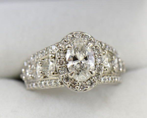 Susans 1.50ct Oval Diamond Platinum Halo Ring with 3 row Diamond Shank GIA D SI2 2.JPG
