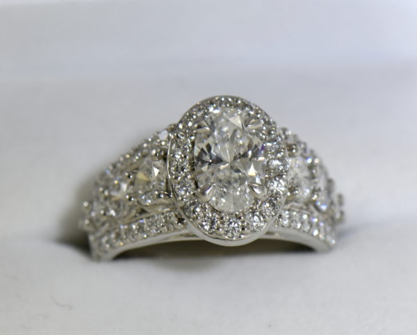 Susans 1.50ct Oval Diamond Platinum Halo Ring with 3 row Diamond Shank GIA D SI2 4.JPG
