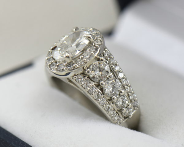 Susans 1.50ct Oval Diamond Platinum Halo Ring with 3 row Diamond Shank GIA D SI2 5.JPG