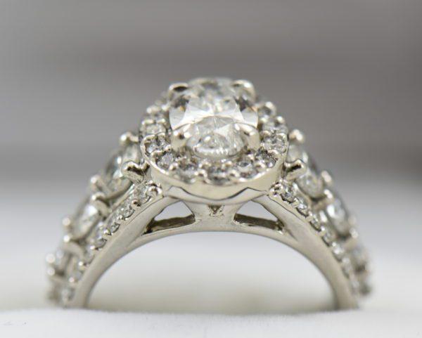 Susans 1.50ct Oval Diamond Platinum Halo Ring with 3 row Diamond Shank GIA D SI2 6.JPG