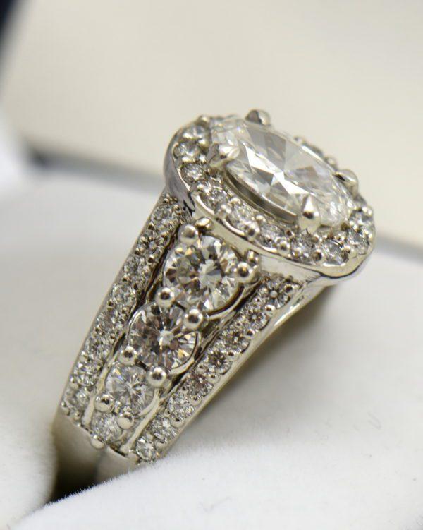 Susans 1.50ct Oval Diamond Platinum Halo Ring with 3 row Diamond Shank GIA D SI2 7.JPG