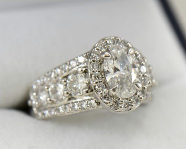 Susans 1.50ct Oval Diamond Platinum Halo Ring with 3 row Diamond Shank GIA D SI2 8.JPG