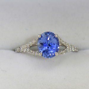 Unheated 1.40ct Ceylon Periwinkle Blue Sapphire Ring with White Gold Split Shank.JPG