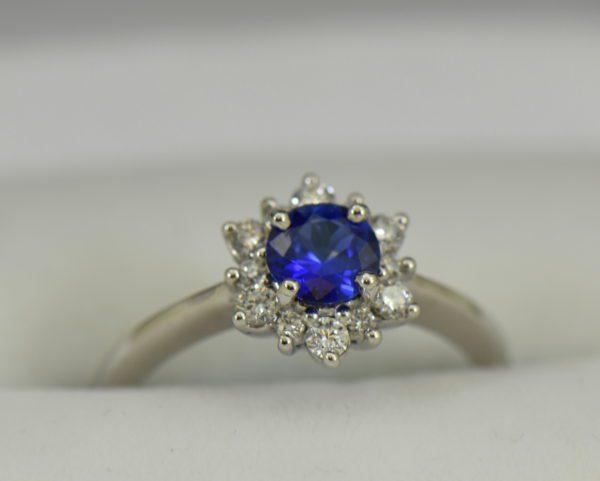 Unheated Round Blue Sapphire Diamond Star Shaped Engagement Ring.JPG