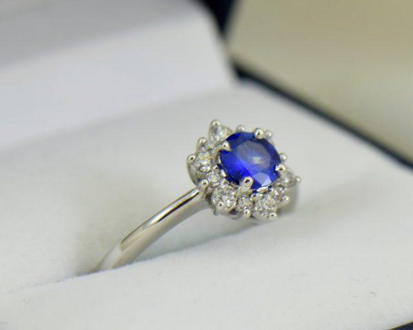 Unheated Round Blue Sapphire Diamond Star Shaped Engagement Ring 2.JPG