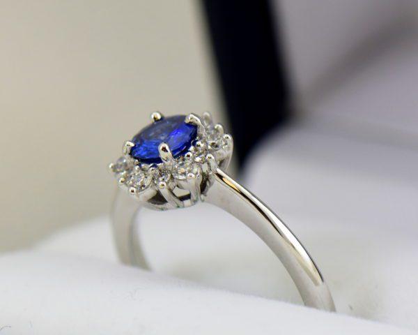 Unheated Round Blue Sapphire Diamond Star Shaped Engagement Ring 5.JPG