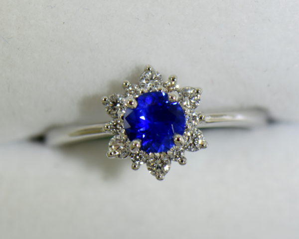 Unheated Round Blue Sapphire Diamond Star Shaped Engagement Ring 7.JPG