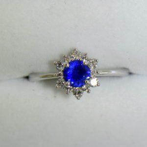 Unheated Round Blue Sapphire Diamond Star Shaped Engagement Ring 8.JPG