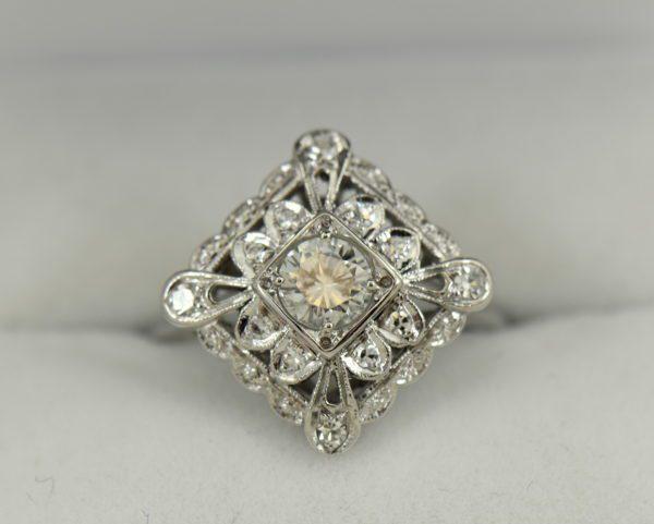 Vintage Diamond Ring .50ct Center Diamond with filigree details in white gold 2.JPG