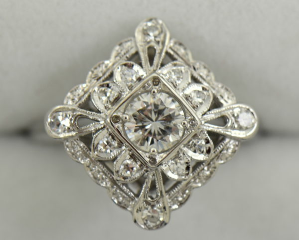 Vintage Diamond Ring .50ct Center Diamond with filigree details in white gold 3.JPG
