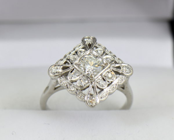 Vintage Diamond Ring .50ct Center Diamond with filigree details in white gold 5.JPG
