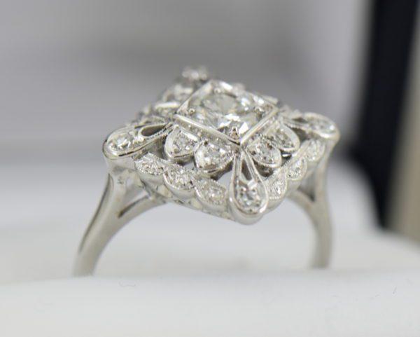 Vintage Diamond Ring .50ct Center Diamond with filigree details in white gold 7.JPG