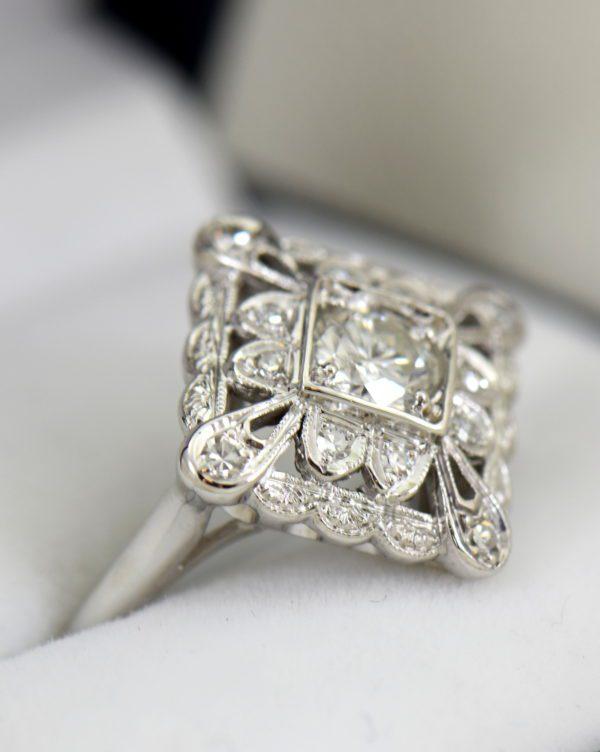 Vintage Diamond Ring .50ct Center Diamond with filigree details in white gold 8.JPG