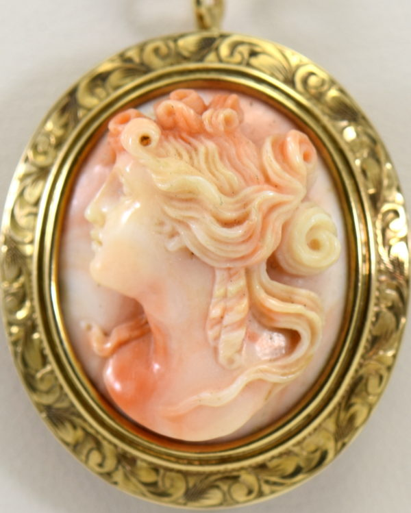 antique carved angel skin coral cameo high relief face in engraved yellow gold frame 6.JPG