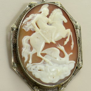 art deco shell cameo pin pendant combo with knight slaying dragon in white gold frame 2.JPG