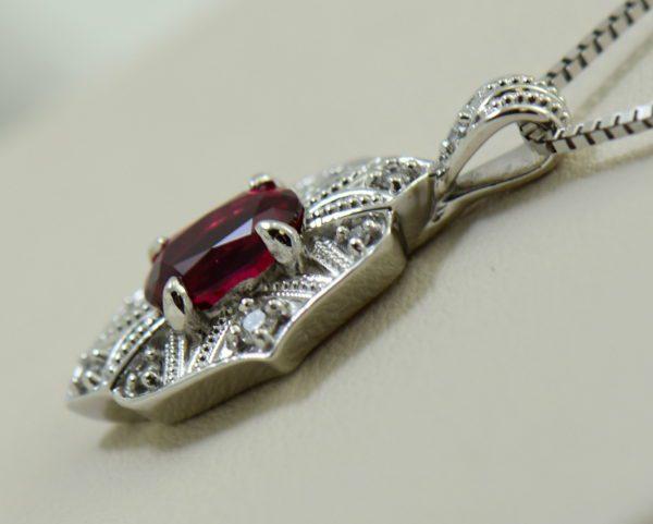 custom vintage style white gold pendant earring set with burmese jedi red spinels.JPG