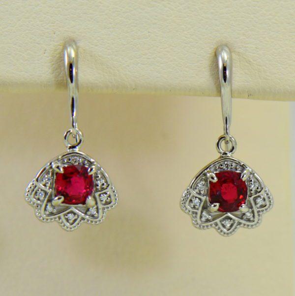 custom vintage style white gold pendant earring set with burmese jedi red spinels 10.JPG