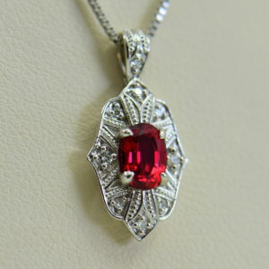 custom vintage style white gold pendant earring set with burmese jedi red spinels 2.JPG