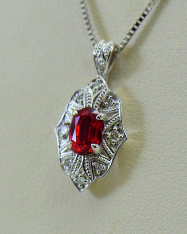 custom vintage style white gold pendant earring set with burmese jedi red spinels 3.JPG