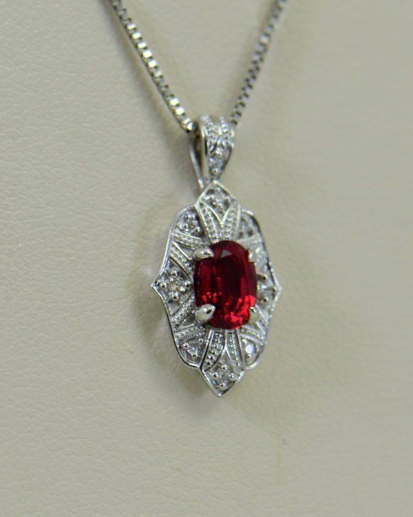 custom vintage style white gold pendant earring set with burmese jedi red spinels 5.JPG