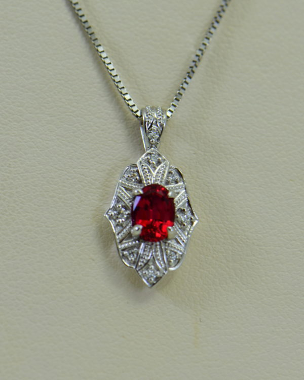 custom vintage style white gold pendant earring set with burmese jedi red spinels 6.JPG