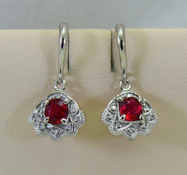 custom vintage style white gold pendant earring set with burmese jedi red spinels 8.JPG