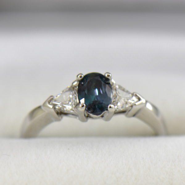 Brazilian alexandrite .63ct trillion diamond ring white gold 2.JPG