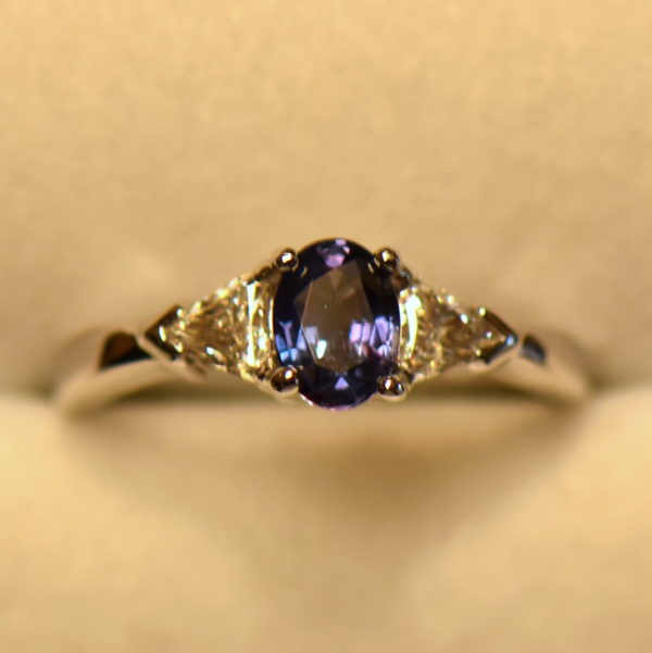 Brazilian alexandrite .63ct trillion diamond ring white gold 3 incandescent.JPG