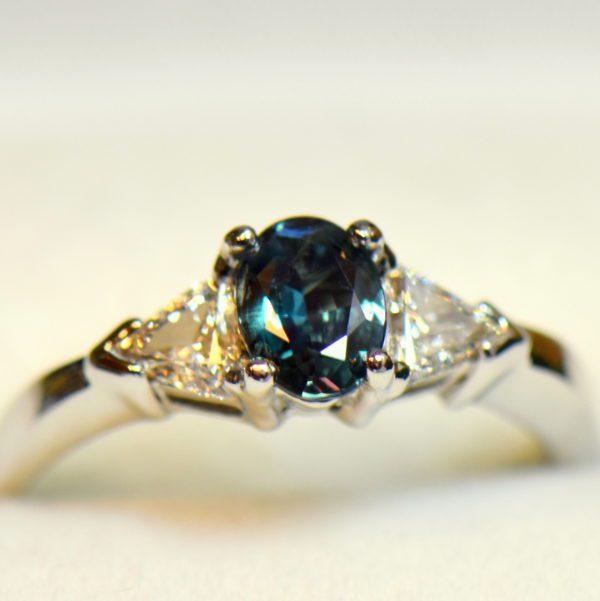 Brazilian alexandrite .63ct trillion diamond ring white gold 4 daylight.JPG