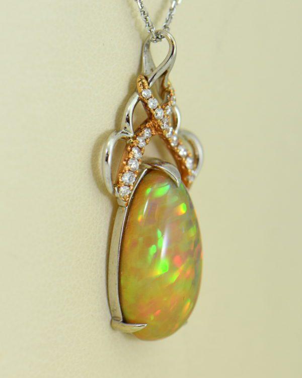 Ethiopian Opal Pendant In Twotone Gold with Snakeskin pattern 2.JPG