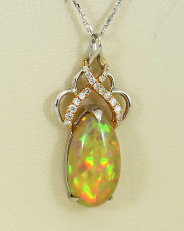 Ethiopian Opal Pendant In Twotone Gold with Snakeskin pattern 3.JPG