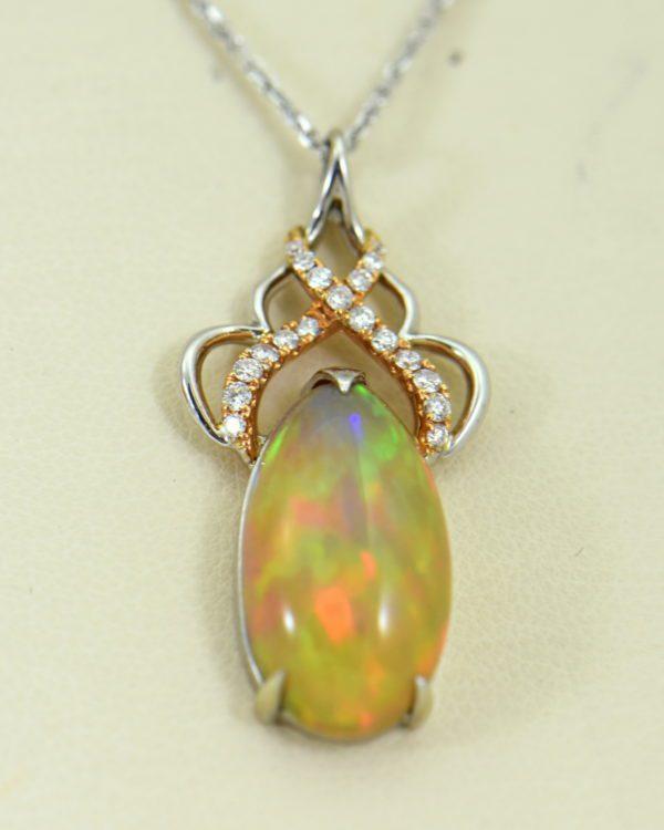 Ethiopian Opal Pendant In Twotone Gold with Snakeskin pattern 4.JPG