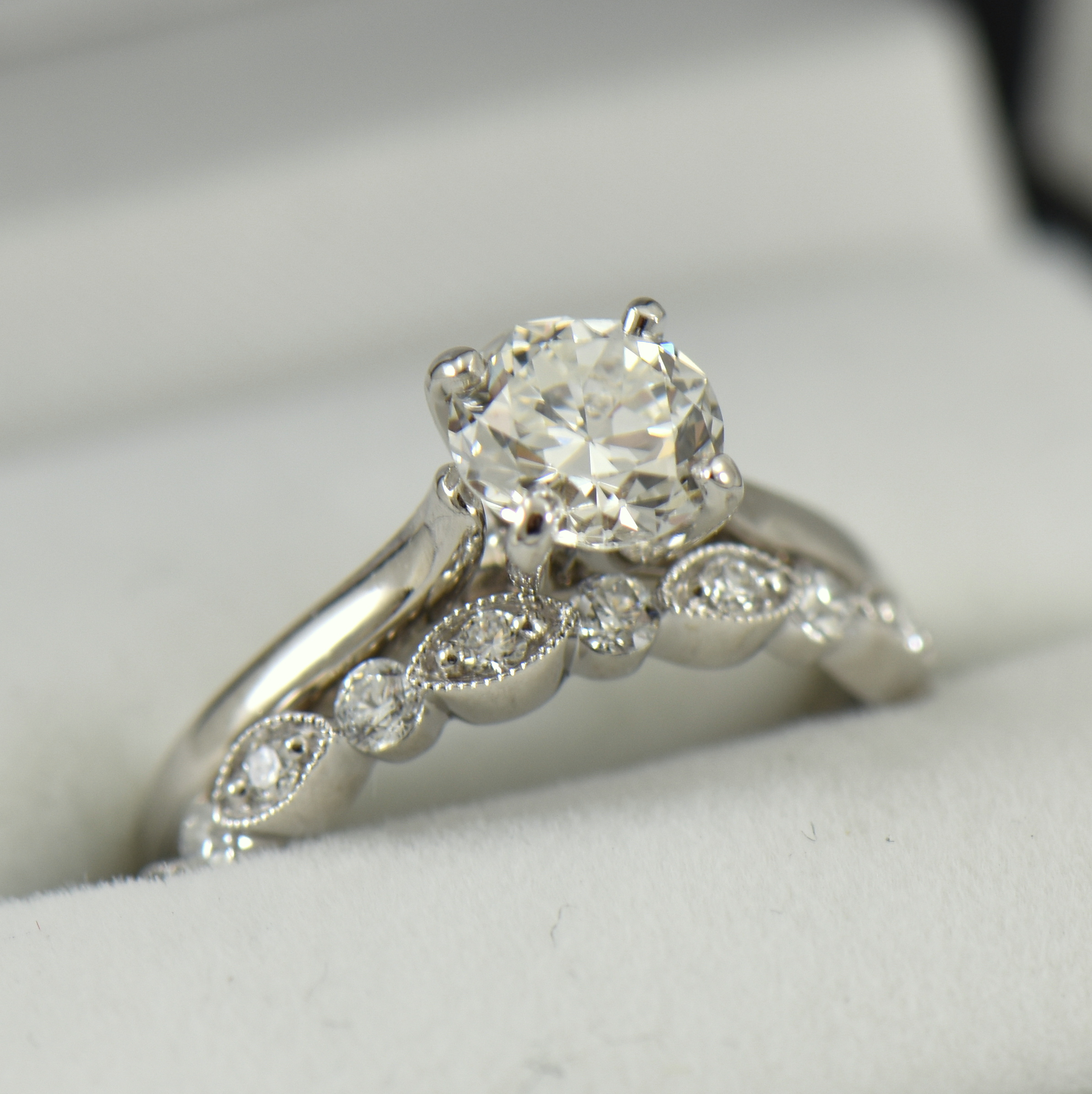 Platinum Solitaire Engagement Ring with Half Carat Modern Euro Diamond with Milgrain Band Copy