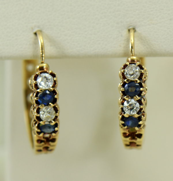 Victorian sapphire and mine cut diamond hoop earrings in rosy yellow gold.JPG