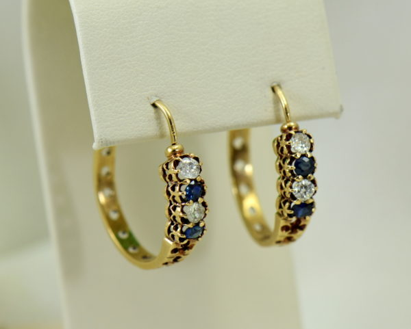 Victorian sapphire and mine cut diamond hoop earrings in rosy yellow gold 2.JPG