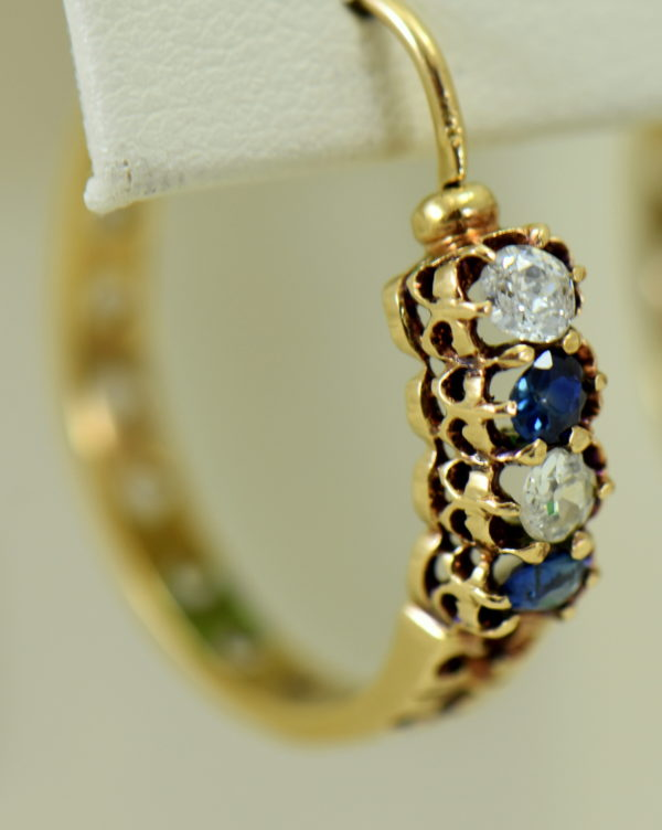 Victorian sapphire and mine cut diamond hoop earrings in rosy yellow gold 3.JPG