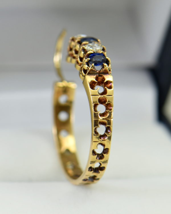 Victorian sapphire and mine cut diamond hoop earrings in rosy yellow gold 5.JPG