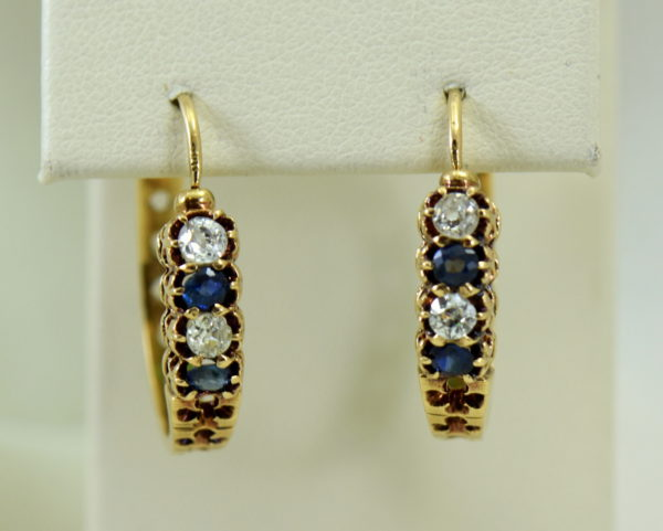 Victorian sapphire and mine cut diamond hoop earrings in rosy yellow gold 7.JPG