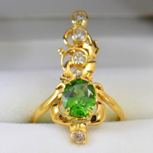 art nouveau dinner ring with green zircon and mine cut diamonds in floral yellow gold.JPG 1